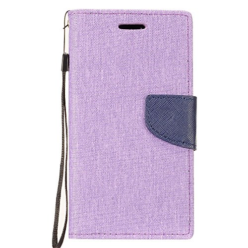 Bemz Wallet Phone Case Compatible with LG Aristo 3, Tribute Empire, Rebel 4, Phoenix 4, Aristo 2 Plus, Zone 4 with Denim Fabric/Synthetic Leather, Card Slots, Magnetic Flip Cover - Purple/Blue