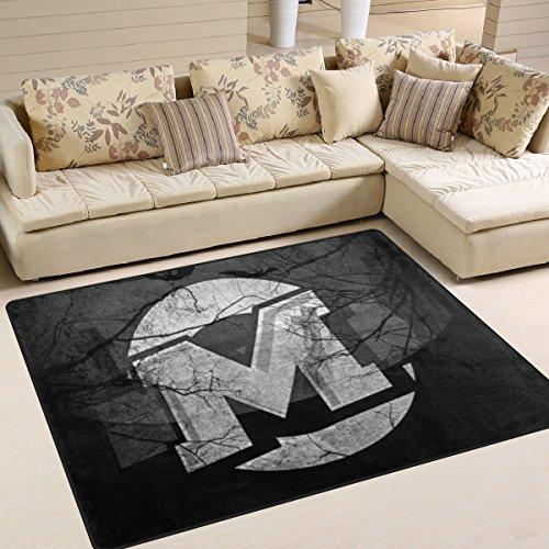 DEYYA Contemporary Noche De Brujas Halloween Design Non-Slip Area Rug, Cozy Shag Collection Solid Shag Rug Contemporary Living & Bedroom Soft Carpet Rug, 6'7