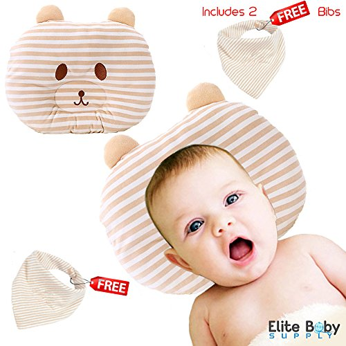Baby Pillow for Newborn 100% Natural Organic Cotton. Prevent Flat Head. Reduce Acid Reflux. Promote Infant Spine - Newborn Baby Crib Born