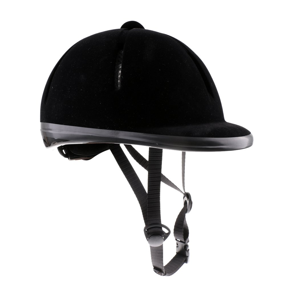 Fenteer Professional Kids Velvet Equestrian Helmet, Adjustable Horse Riding Helmet, 48-54cm