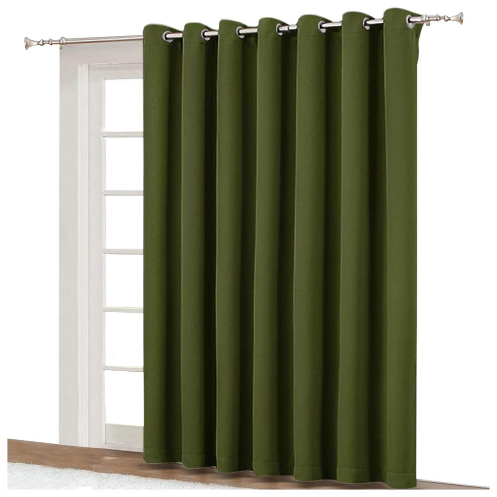 NICETOWN 95 Inches Patio Door Curtains - Thermal Drapes Sliding Door Blinds for Hotel and Office, Blackout Shade for Curtain Rods (Olive Green, W100 Inches x L95 Inches)