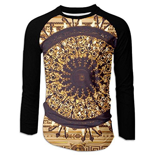 Yishuo Chandelier Hanging Under A Ceiling In A Palace Men Front Single Print Casual Long Sleeve T-Shirt - Candle Single Ceiling Pendant