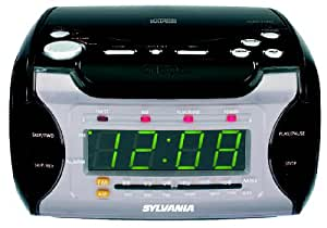 Curtis SCR4975-BLACK Sylvania CD Clock Radio with Green Display and Battery Back Up (Black)