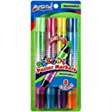 Artskills PA1212 Washable Poster Markers Double-Ended .5 Chisel Tip 4/Pkg-Bright, 8 Colors