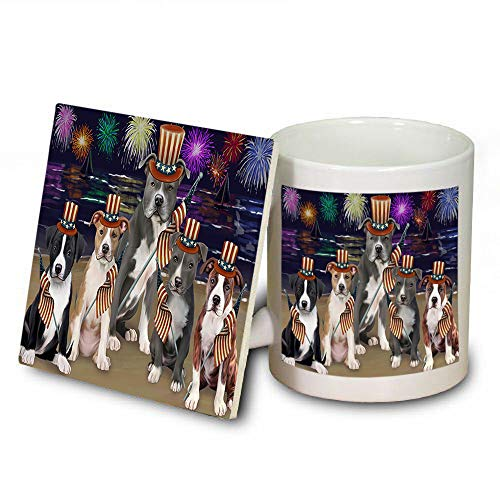 4th of July Independence Day Firework American Staffordshire Terriers Dog Mug and Coaster Set MUC52384 (Coasters Safe Dishwasher Independence)