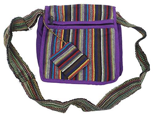 Purple HIPPY BOHO COTTON GHERI amp; TRAVEL PURSE BEACH FAIR TRADE SHOULDER Multi FESTIVAL BAG amp; qX4HxZ74