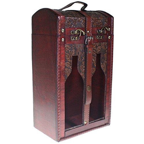 CHRISTIAN GAR Caja de Madera Decorada para 2 Botellas de Vino - con Ventanas - Caja para Regalo/Decoración (34,5 x 20 x 12,5 cm) 9550-79: Amazon.es: Hogar
