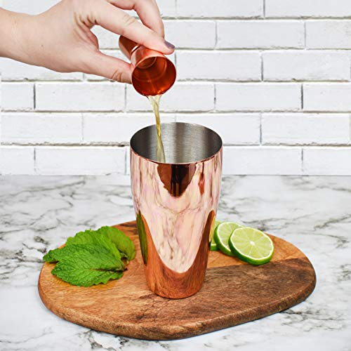 Bartender Kit Copper 11 Piece - Copper Parisian Cocktail Mixology Set - Rose Gold Shaker With Muddler, Pourers, Strainer & Twisted Bar Spoon by J&A Homes (Image #4)