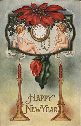cupida-watch-a-timepiece-with-candles-and-seasonal-flowers-angels-cherubs-original-vintage-postcard