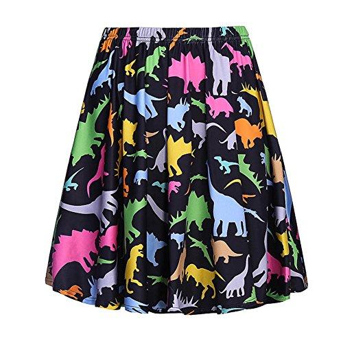 (Fancyqube Women's Elastic Waist Cute Dinosaur Print Flared Mini Skirt Black)