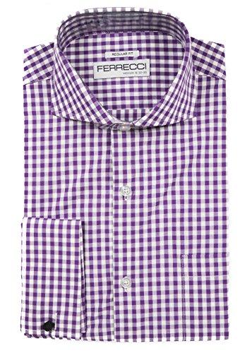 Ferrecci L 16 36-37 Gingham Purple reg. Fit Dress Shirt -