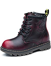 Boy's Girl's Waterproof Leather Side Zipper Lace-Up Ankle Boot (Toddler/Little Kid/Big Kid)