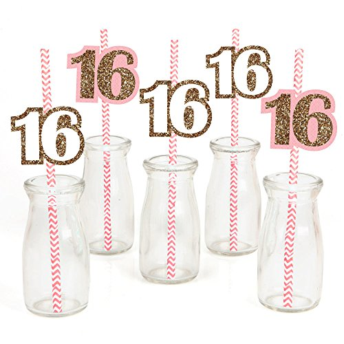 Sweet 16 Paper Straw Decor - Birthday Party Striped Decorative Straws - Set of (Sweet 16 Party Favors Ideas)