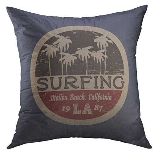Mugod Pillow Cover The of Surfing Surf in California Malibu Beach Grunge Vintage Design Stamp Graphics Home Decorative Throw Pillow Cushion Cover 16x16 Inch -