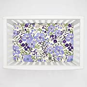 Carousel Designs Lavender Floral Tropic Mini Crib Sheet 5-Inch-6-Inch Depth - Organic 100% Cotton Fitted Mini Crib Sheet - Made in the USA