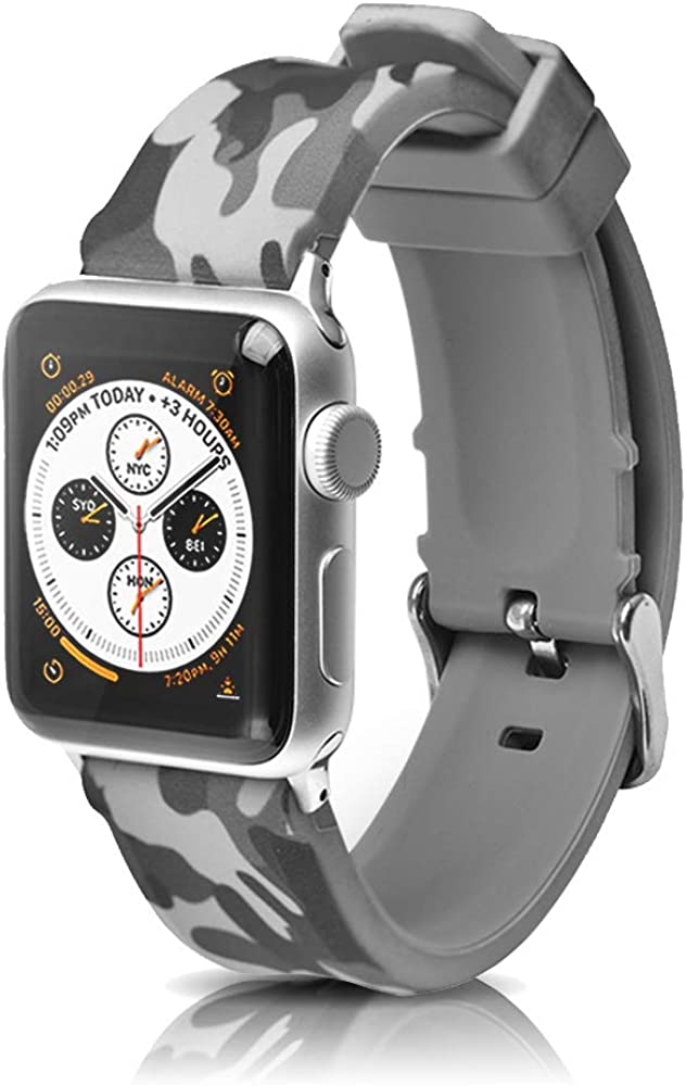 Compatible with Apple Watch Bands 38mm 42mm 40mm 44mm Camouflage Silicone Rubber Watch Band Replacement Divers Sport Wrist Watch Strap for iWatch Series 6/SE/5/4/3/2/1