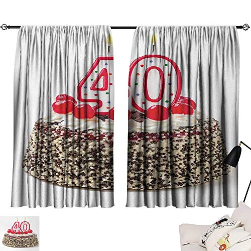Jinguizi 40th Birthday Room/Bedroom, Yummy Desert Sweet Party Cake Burning Number Candles and Cherries Delicious Pattern Darkening Curtains Multicolor W84 x L72