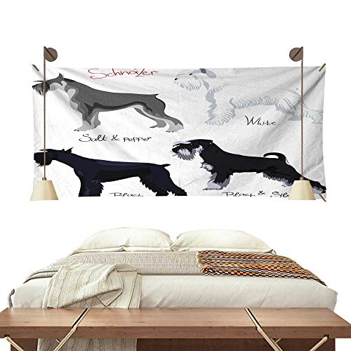 Anyangeight Colorful Tapestry Vector Set of Purebred Dogs Schnauzer 91W x 60L Inch