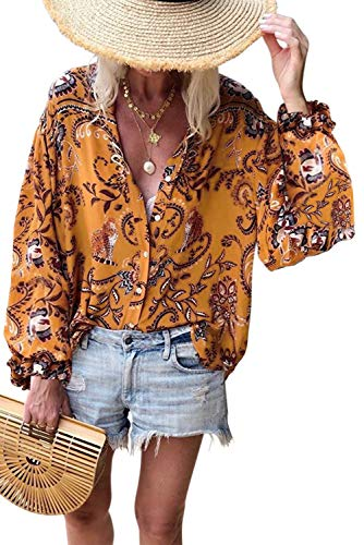 Asvivid Womens Summer Floral Printed Button Down Tops V Neck Long Sleeve Chiffon Blouses Holiday T-Shirt S -