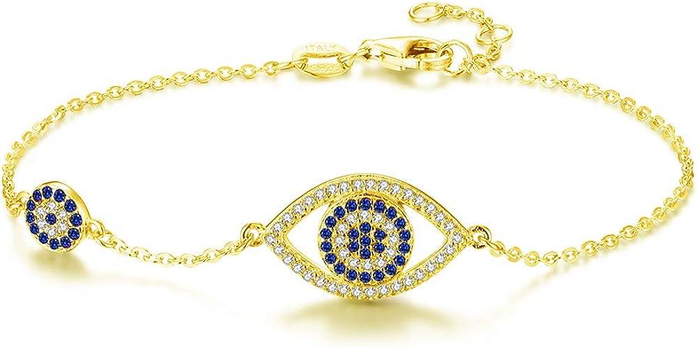 """Kaletine Blue Evil Eyes Link Bracelet Sterling Silver 925 Cubic Zirconia Chain Adjustable 6.7"""" 7"""" 7.5"""""""