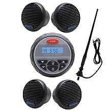 "MarineMaxx 4"" Bluetooth Marine Stereo Marine Digital Media Audio Receiver FM AM USB MP3 AUX Input Round/Circle +1 Pair 3 inch Waterproof Marine Speaker+Marine FM AM Radio Antenna Black"