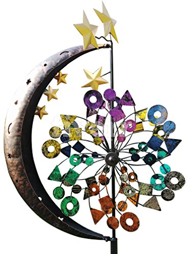 Fancy Gardens 7 Foot Tall Moon & Stars Garden Spinner-- Multicolor Kinetic Garden Windspinner - Decorative Lawn Ornament Wind Mill - Unique Outdoor Lawn and Garden Décor