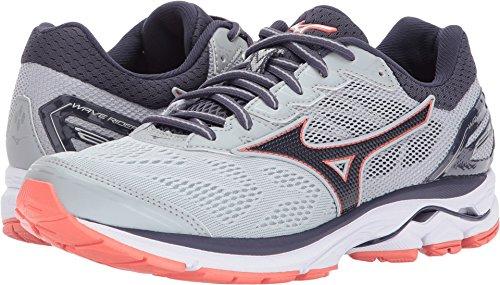 09 Running Shoe (Mizuno Women's Wave Rider 21 Running Shoe Athletic Shoe, High Rise/Gray Stone, 8 2A US)