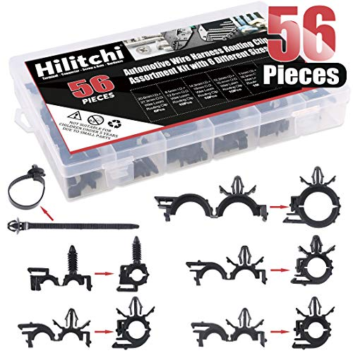 Hilitchi 56 Pcs Automotive Wire Harness Routing Clip Assortment Kit with 6 Different Sizes Wire Loom Routing Clips for Honda GM -