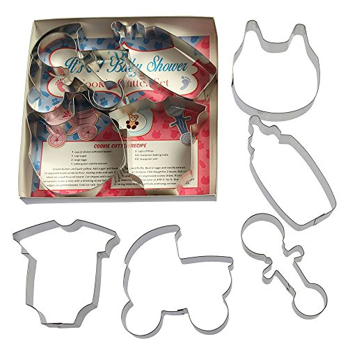 It's A Baby Shower Cookie Cutter 5 Pc Set L9034 - Baby Bib 4 in, Baby Bottle 5 in, Baby Carriage 4 in, Baby Rattle 4.25 in, Baby Body Suit 4 in.- Foose Cookie Cutters - US Tin Plated Steel -