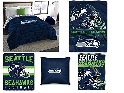 Northwest NFL Seattle Seahawks 5pc Bedding Set: Includes (1) Twin/Full Comforter, (1) Blanket, (2) Throws, and (1) Toss Pillow ()
