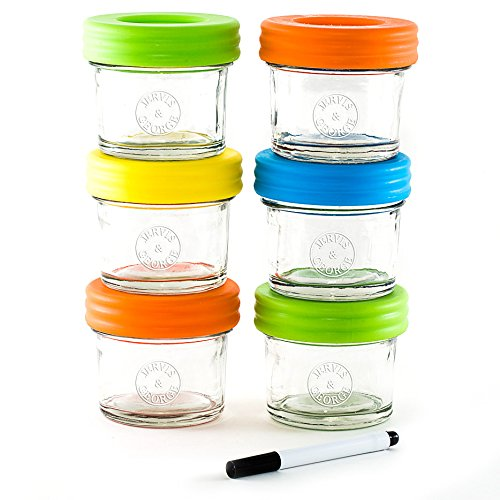 Glass Baby Food Storage Containers Set contains 6 Small Reusable 4oz