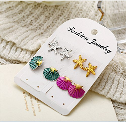 4 Pairs Earrings Set Symmetrical Starfish Shell Earrings Colored s. by PG-kisseller (Image #2)