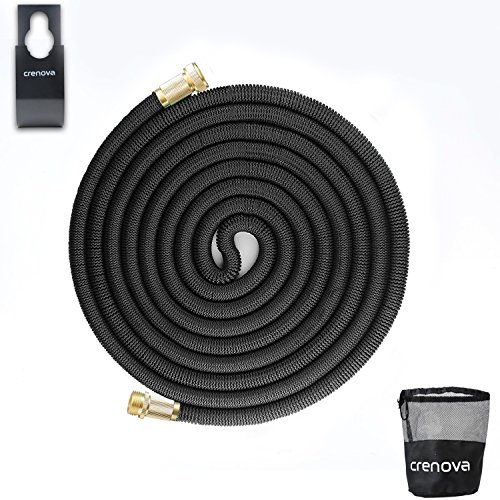 Crenova 100ft Expanding Hose Expandable Garden Hose with Double Latex Core, Solid Brass Connector and Extra Strength Textile for Garden Watering and Car Washing
