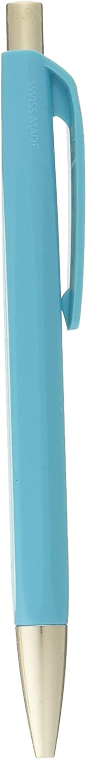 Caran Dache Ballpoint Pen, turquoise blue, with SwissRide blue medium cartridge