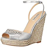 Badgley Mischka Women's Annabel Espadrille Wedge Sandal, Silver, 9 M US