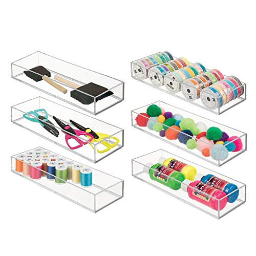 (mDesign Stackable Plastic Drawer Organizer Storage Bin Tray - Holder for Craft, Sewing, Hobby, Art Supplies in Home, Classroom, Studio - 12