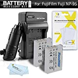 2 Pack Battery And Charger Kit For Fuji Fujifilm X70, X30, X100, X100S, X100T, X-S1 Digital Camera Includes 2 Extended (1800Mah) Replacement NP-95 Batteries + Ac/Dc Charger + Screen Protectors + More