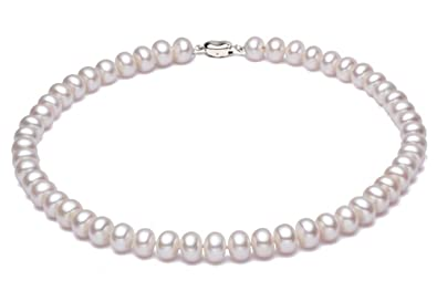 75eee0c4e0d7e2 JYX Pearl Choker Necklace Small White 5mm Cultured Freshwater Pearl Necklace  for Women 16""