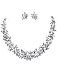 Ever Faith Wedding Cluster Flower Leaf Necklace Earrings Set Clear Austrian Crystal Silver-Tone N03335-2