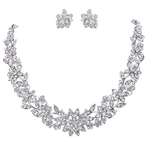 Leaf Necklace Earring Set (EVER FAITH Wedding Cluster Flower Leaf Necklace Earrings Set Clear Austrian Crystal Silver-Tone)