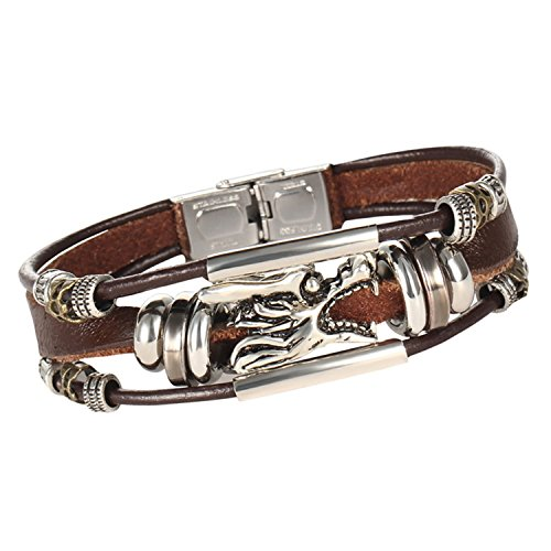 Young & Forever Men's Mentastic Stainless Steel Dragon's Head Zen Leather Bracelet by Young & Forever