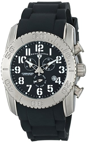 Swiss Legend Men's 11876-TI-01 Commander Analog Display Swiss Quartz Black Watch (Mens Commander Chronograph Watch)