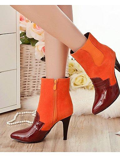 5 Uk8 us8 Cn43 Uk6 Cono Cn40 Eu39 Casual Trabajo 5 Orange Rojo 5 Semicuero Vestido 5 Cerrada Zapatos Tacón negro De Mujer Orange Botas Eu42 Xzz Oficina Puntiagudos Punta Y us10 g1Bq44x