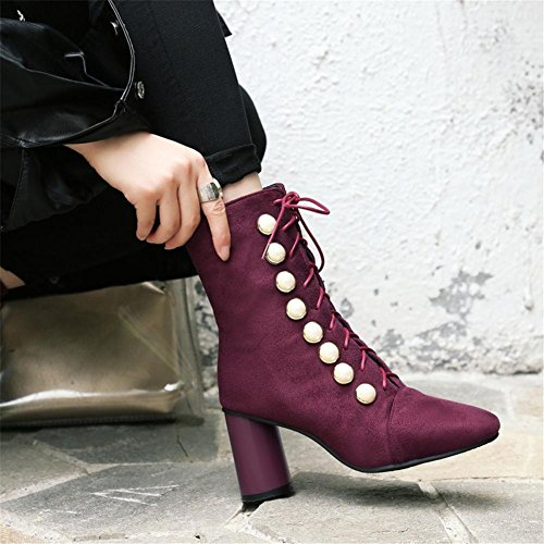 NVXIE Women's Ladies Boots Rough High Heel Square head Suede Pearl Lace Black Wine Red Fall Winter Party Work WINERED-EUR40UK7 nFj6rxUo