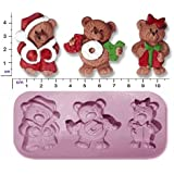 Stampo in silicone, per decorazioni torte in pasta di zucchero, motivo: 3 orsacchiotti natalizi