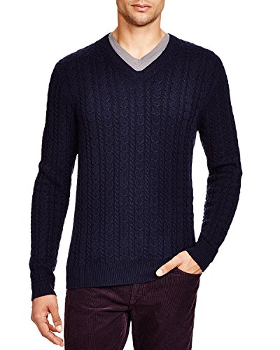 - Bloomingdale's Mens Wool & Cashmere Cable V-Neck Sweater Medium M True Navy