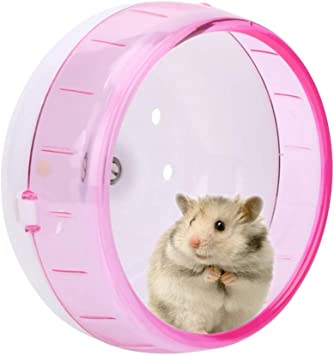 Ichiias Hamster Exercise Wheel Plastic Super Silent Small Pets Roller Running Toy For Guinea Pig Chinchilla Pink Amazon Co Uk Pet Supplies