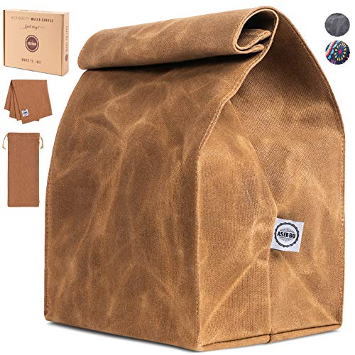 Large Waxed Canvas Lunch Bag, Reusable Lunch Box, Napkin and Cutlery Bag for Men, Women, Thick and Waterproof Lunch Tote with Reinforced Stitching, Durable, Easy to Carry at Work and School by ASEBBO