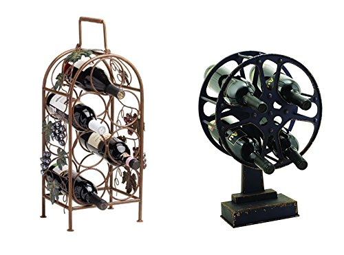 Seven Bottle Wine Rack and Movie Reel Wine Holder, Set of 2 by Twine