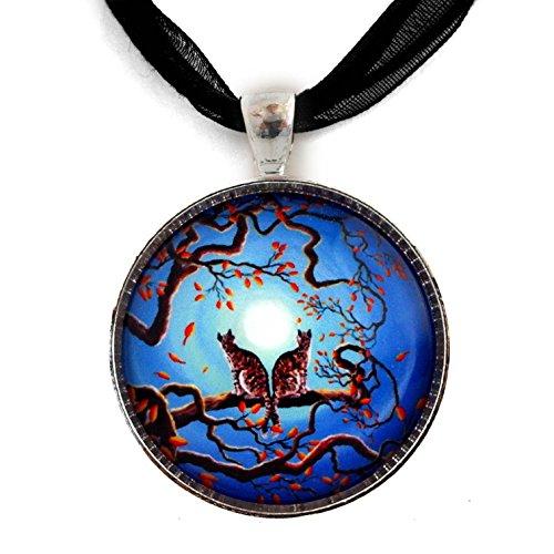 Laura Milnor Iverson Gray Tabby Cats Under a Blue Moon Handmade Art Pendant